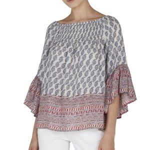 BeachLunchLounge Smocked Neck Ellora Top Blouse 2X